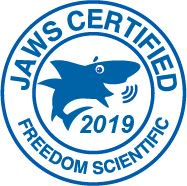 Jaws Certified. Freedom Scientific. 2019 Logo.